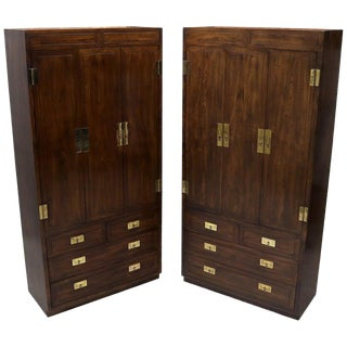 Pair of Henredon Fruitwood Brass Hardware Tall Chests Cabinet For Sale
