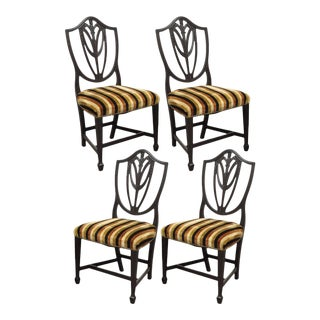 4 Antique Sheraton Shield Back Plume Drape Carved Mahogany Dining Side Chairs For Sale