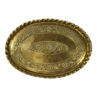 Large Scalloped Oval Brass Tray For Sale