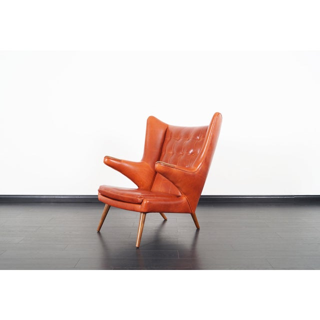 "Burnt Orange Ap-19 ""Papa Bear"" Chair and Ottoman in the Manner of Hans J. Wegner - a Pair For Sale - Image 8 of 12"