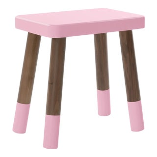 Tippy Toe Kids Chair in Walnut and Pink Finish For Sale