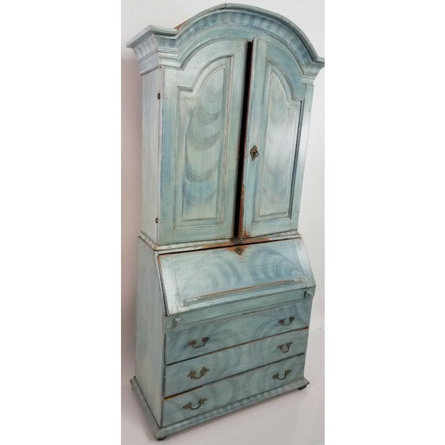 Antique 18th C Blue Paint Decorated French Country Secretary Desk For Sale - Image 4 of 8
