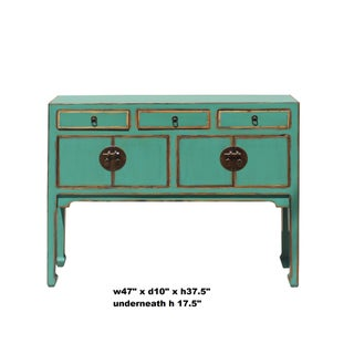 Chinese Oriental Distressed Teal Green Blue Narrow Slim Table Preview