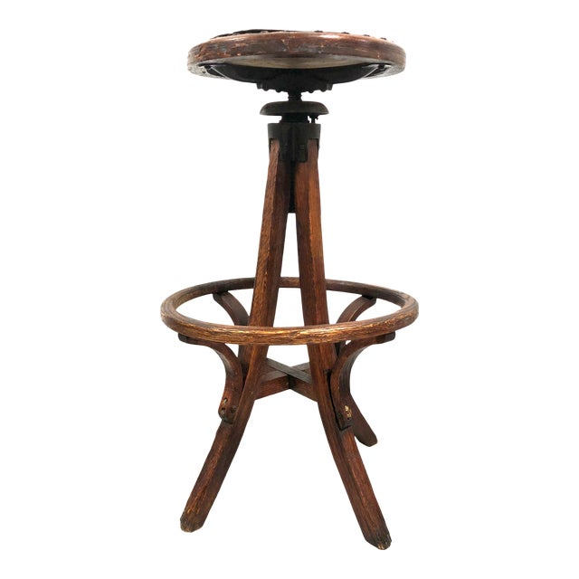 Antique Architectural Industrial Oak Drafting Stool For Sale