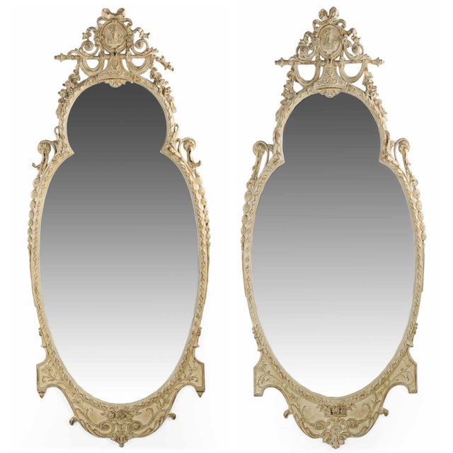 Adam's Style Cream Painted Wall Mirrors - A Pair - Image 1 of 10