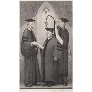 """1939 Grant Wood """"Honorable Degree"""", Original Period Lithograph For Sale"""