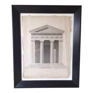 Antique Pencil & Watercolor Architectural Drawing
