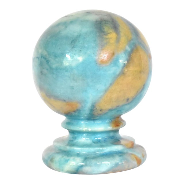 Vintage Italian Duccheschi Blue and Tan Alabaster Round Paper Weight For Sale