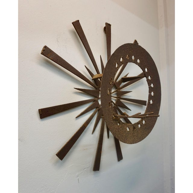 Brutalist Torch Cut Brutalist Wall Sculpture For Sale - Image 3 of 7