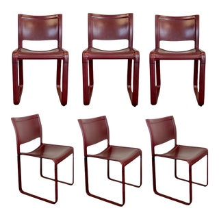 1980s Tito Agnoli for Matteo Grassi Sistena Burgundy Leather Dining Chairs – Set of 6 For Sale
