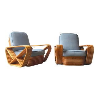 Paul Frankl Style Mid Century 6-Strand Pretzel Rattan Chairs - a Pair For Sale