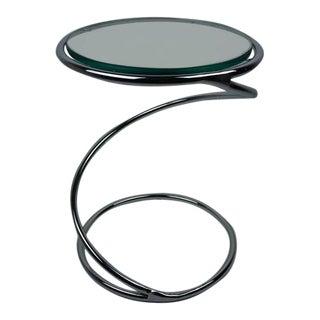1970s Vintage Leon & Irvin Rosen for Pace Polished Chrome & Glass Spiral Table For Sale
