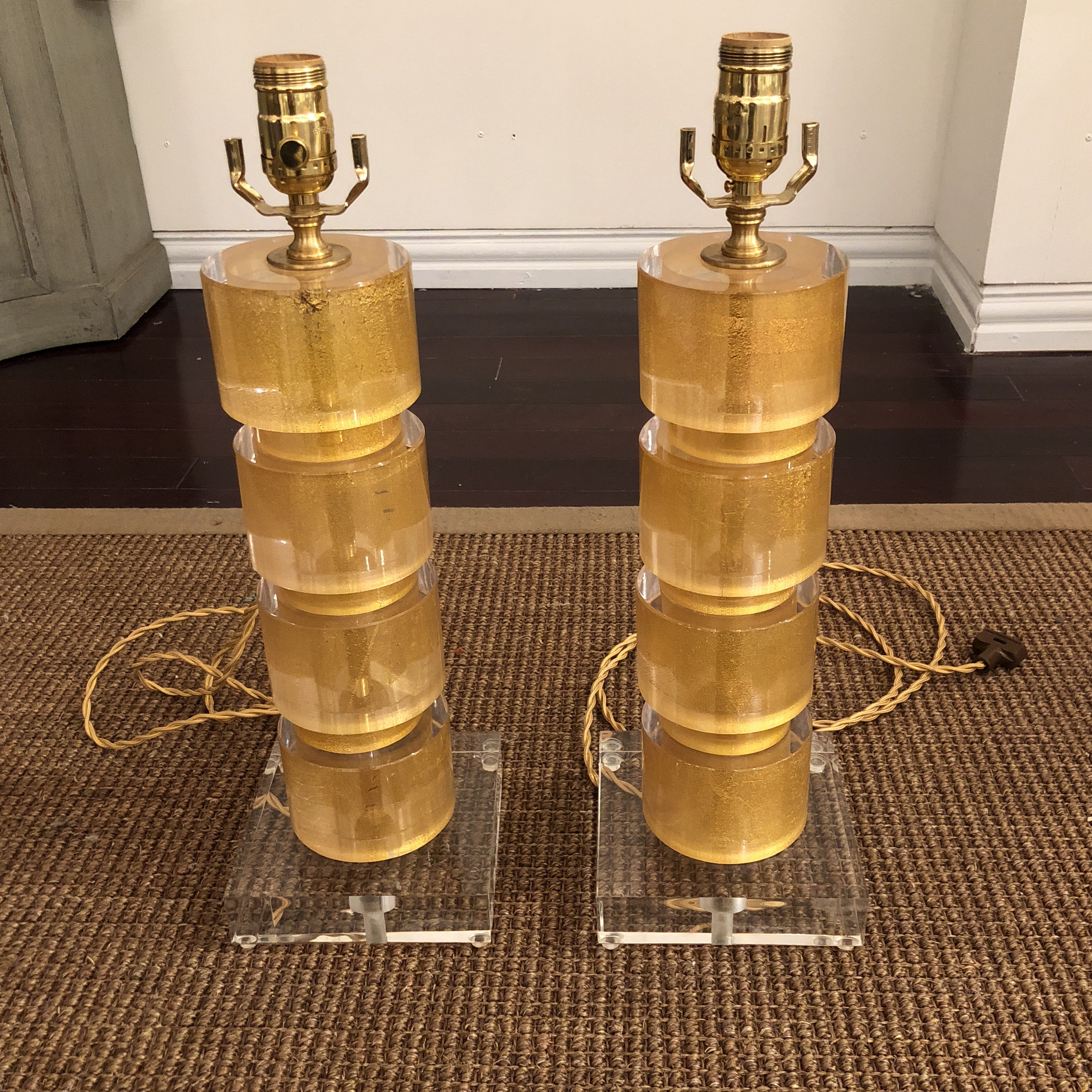 Jan Showers Hollywood Regency Jan Showers Silk Shade Table Lamps   A Pair  For Sale