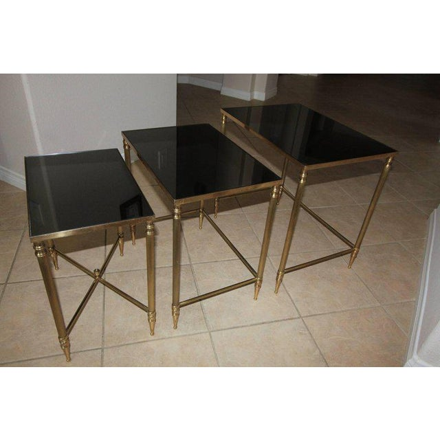 French French Bagues Style Brass Nesting Tables - Set of 3 For Sale - Image 3 of 13