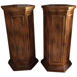 Pair of Classical Designer Hexogonal Pedestals For Sale