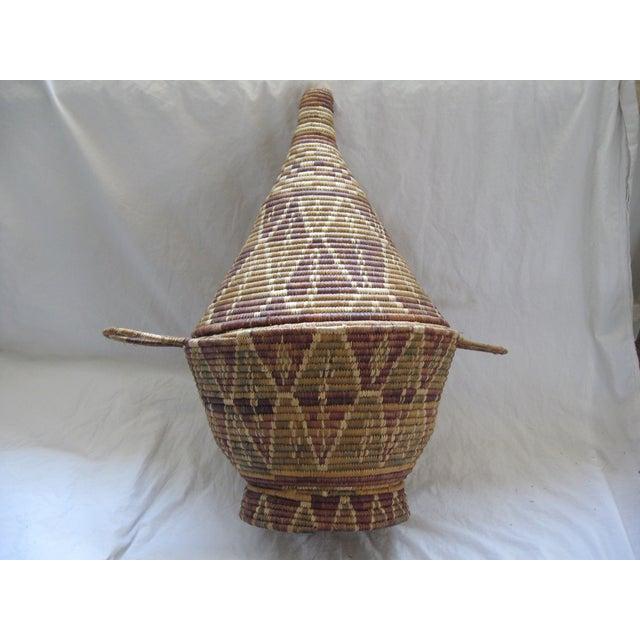 Lidded African Woven Basket - Image 2 of 9