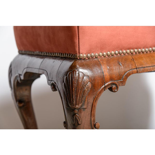 Queen Anne English Walnut Foot Stool For Sale - Image 3 of 6