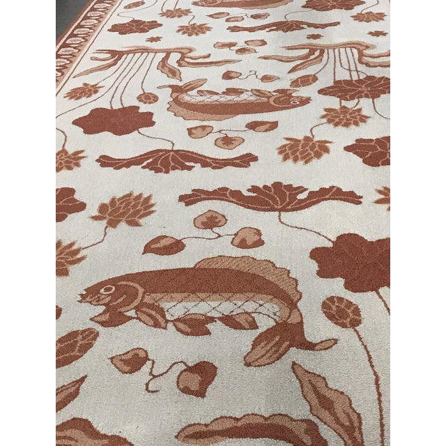 1990s Custom Edward Fields Long Coral and Cream Runner- 5′6″ × 19′ For Sale - Image 5 of 9