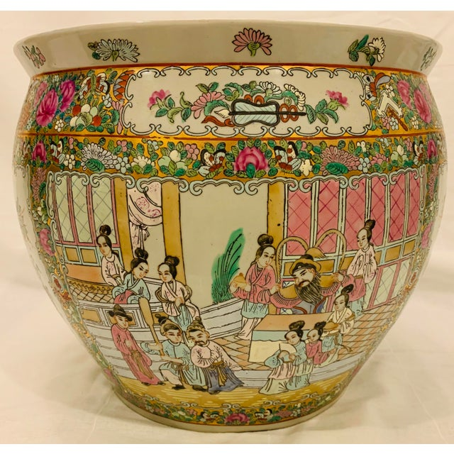 Vintage Chinese Famille Rose Canton Hand Painted Fishbowl Planter For Sale - Image 10 of 10