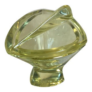 Vintage Murano Style Amber Yellow Faceted Art Glass Lidded Trinket Holder For Sale