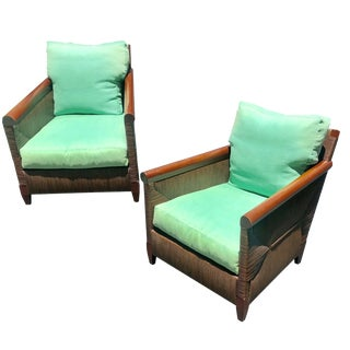 Donghia Wicker Lounge Chairs by John Hutton - a Pair For Sale