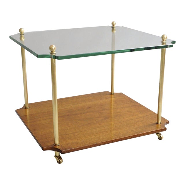 Mid Century Modern Walnut Brass Glass Table - Image 1 of 11