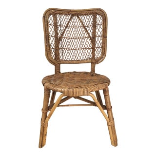 Vintage Mid-Century Bamboo and Wicker Chair For Sale
