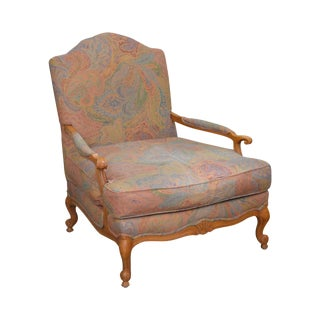 Drexel Heritage French Louis XV Style Wide Seat Bergere Lounge Chair For Sale