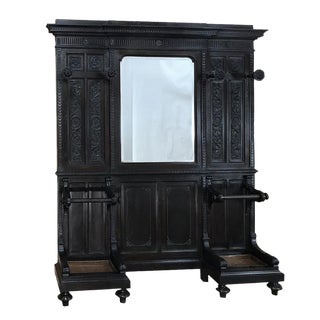 19th Century Italian Walnut Renaissance Hall Tree For Sale