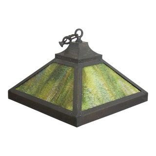 Antique Arts & Crafts Slag Glass Hanging Pendant Light Shade For Sale