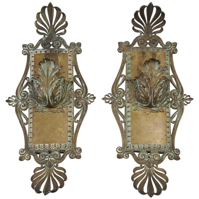 Metal Bronze Neoclassical Beaux-Arts Wall Sconces, Circa 1910 For Sale - Image 7 of 7