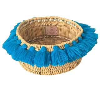 Moroccan Turquoise Tassel Small Basket For Sale