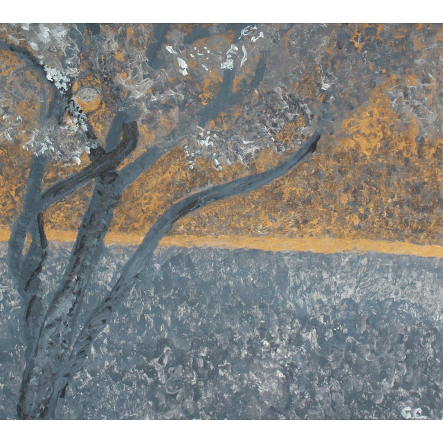 """Contemporary """"Pacific Moonscape"""" Acrylic Painting on Masonite by Gaetan Caron For Sale - Image 3 of 5"""