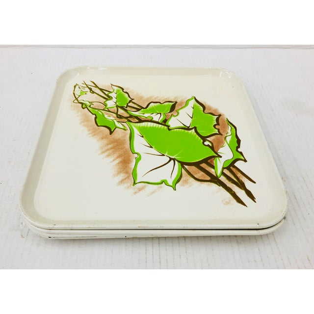 Stunning Set of 6 Retro Fabulous Mid Century Metal Serving Trays with Funky Twisted Green Ivy Leaf & Vine Pattern on Each....