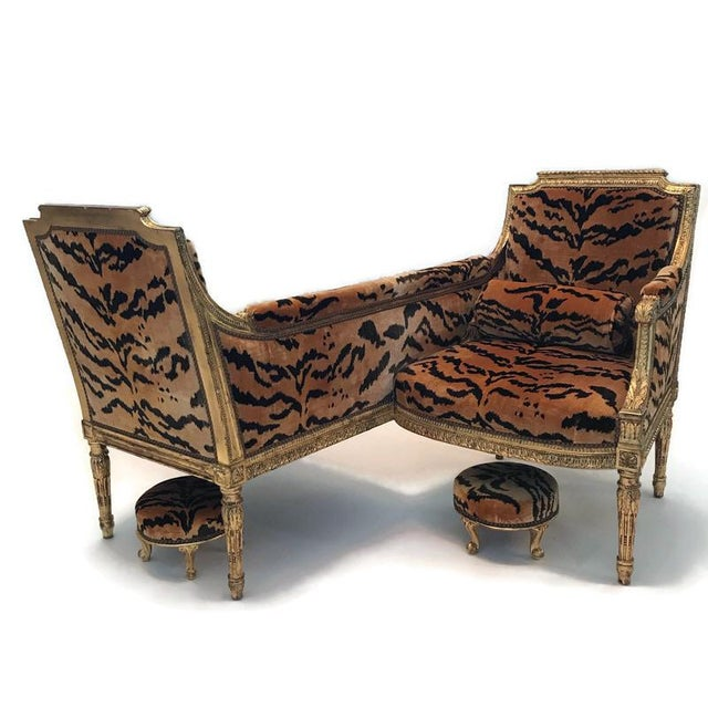 Vintage French Louis XVI Style Giltwood Tete-A-Tete Settee For Sale - Image 13 of 13