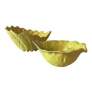 Yellow Lettuce Serving Bowls - A Pair