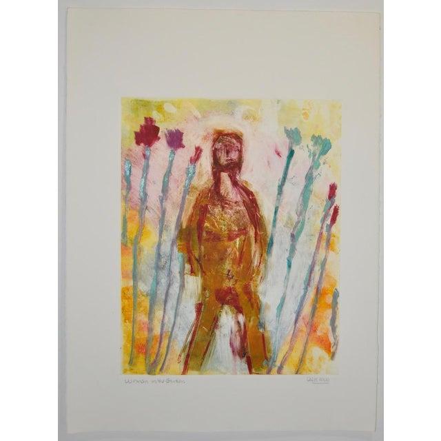"Arthur Krakower (American, 1921-2009) ""Woman in the Garden"" Monotype c.2006 Arthur Krakower got his Master of Fine Arts..."