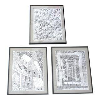 Vintage Op Art Original Ink Drawings Framed - Set of 3 For Sale