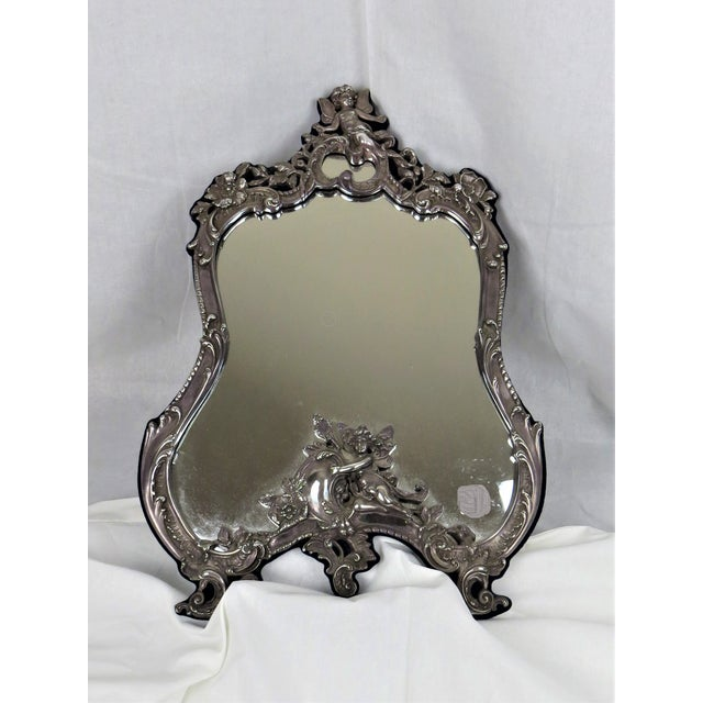 Early 20th Century Vanity Sterling Silver Vintage Mirror On Easel Stand For Sale - Image 5 of 7