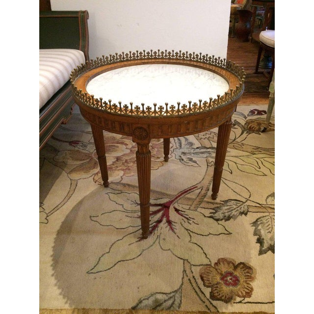 French Carved Wood & Marble Cocktail Side Table - Image 8 of 9