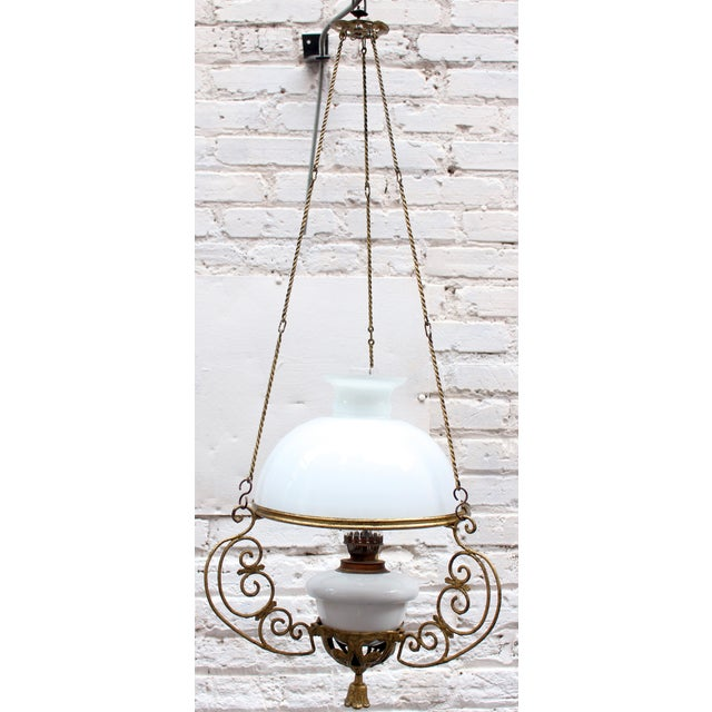 Offered is a campaign atyle antique gas lamp in original gorgeous condition. Wonderful for an eclectic or traditional...