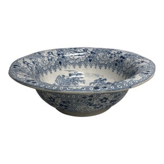 Antique English Blue & White Transferware Bowl For Sale