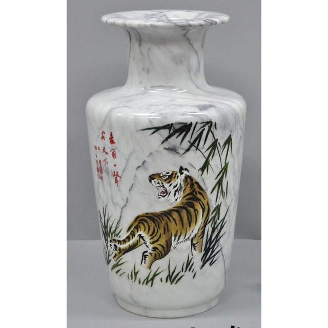 Carved & Painted Tiger Oriental Scene White Marble Vase Vessel For Sale - Image 13 of 13