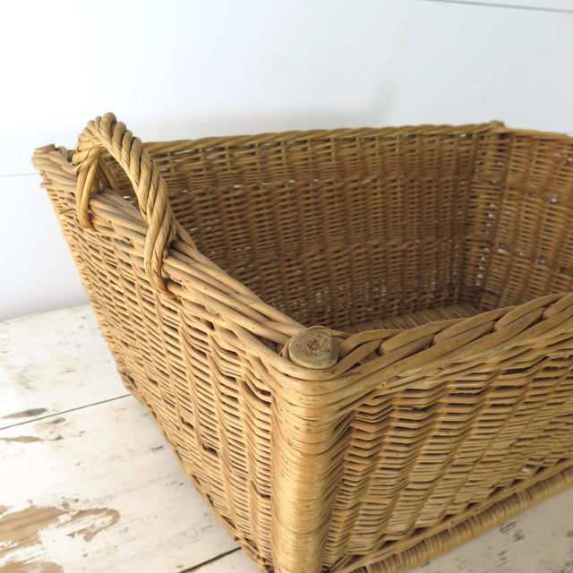 Wicker Vintage French Laundry Basket For Sale - Image 7 of 8