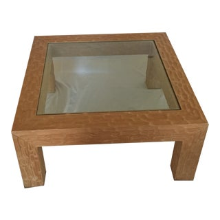 1970s Mid-Century Modern Hand-Scraped Pale Wood and Glass Coffee Table For Sale