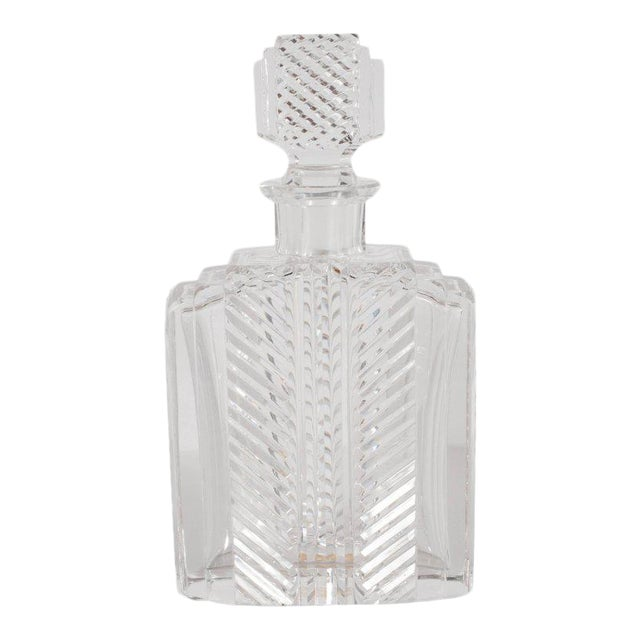 Exquisite Skyscraper Style Crystal Art Deco Hand-Cut & Beveled Crystal Decanter For Sale