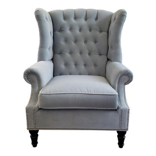 Button Tufted Wing Chair in Rush Heron Velvet Fabric For Sale