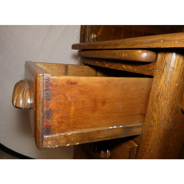 Solid Oak Rolltop Desk With Roll Front Hutch For Sale - Image 10 of 12