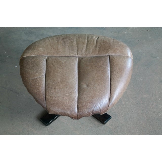 Danish Mid-Century Brown Leather Egg Chair with Ottoman by H. W. Klein For Sale - Image 12 of 13