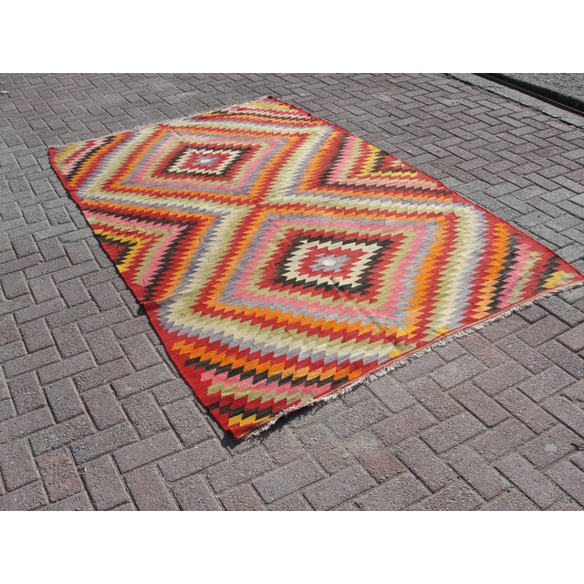 Islamic Vintage Turkish Kilim Rug - 5′5″ × 8′7″ For Sale - Image 3 of 11
